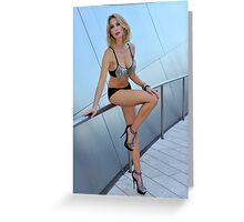 Blond girl in lingerie at LA cityscapes 1 Greeting Card