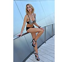 Blond girl in lingerie at LA cityscapes 1 Photographic Print