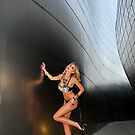 Blond girl in lingerie at LA cityscapes 2 by Anton Oparin