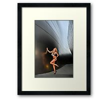 Blond girl in lingerie at LA cityscapes 2 Framed Print