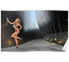 Blond girl in lingerie at LA cityscapes 3 Poster
