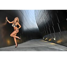 Blond girl in lingerie at LA cityscapes 3 Photographic Print