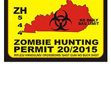 Zombie Hunting Permit KENTUCKY  by BUB THE ZOMBIE