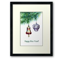 Fir tree with christmas toys Framed Print