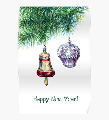 Fir tree with christmas toys Poster