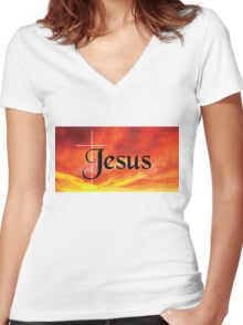 Jesus Women's Fitted V-Neck T-Shirt