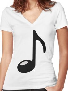 black note Women's Fitted V-Neck T-Shirt