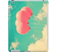 Balloons in the sky (pink ballons in retro blue sky) iPad Case/Skin