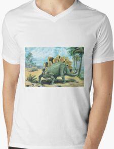 Stegosaurus Mens V-Neck T-Shirt