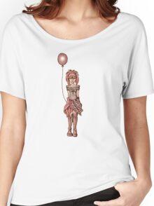 Cute Punk Cartoon of Girl Holding Purple Balloon Women's Relaxed Fit T-Shirt