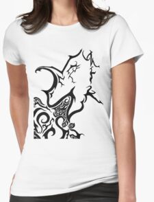 Tribal dragon ink drawing A4 black and white card fantasy art mythical beast illustration stylised fire breathing geek gift idea Womens Fitted T-Shirt