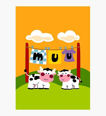 Laundy Cows Photographic Print