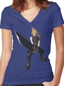 Cloud Battle Stance  Women's Fitted V-Neck T-Shirt