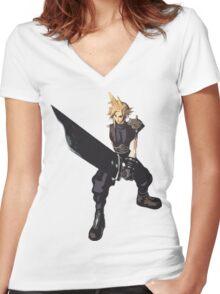 Cloud Battle Stance  Women's Fitted V-Neck T-Shirt