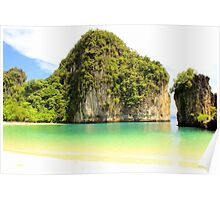 Ko Hong - Beach Surrounded by Limestone Karsts Poster