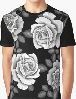 White Realistic Roses Graphic T-Shirt