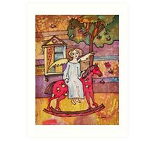 Autumn Angel on the Red Horse Art Print