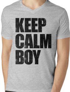 Keep Calm Boy (Black) Mens V-Neck T-Shirt