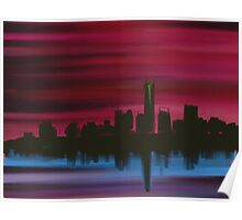 Manhattan Skyline in Red Poster