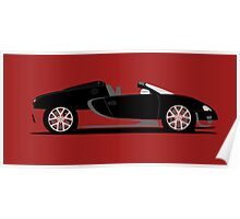 2012 Bugatti Veyron 16.4 Grand Sport Vitesse Black and Red Poster