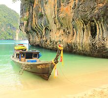 Longtail Boat and Cliffs - Hong Islands - Thailand by Honor Kyne