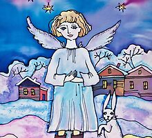 Christmas Angel with Rabbit by DinaArt