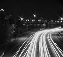 Black and White Traffic Trails #1 by Rachel Jeffrey
