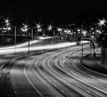 Black and White Traffic Trails #2 by Rachel Jeffrey