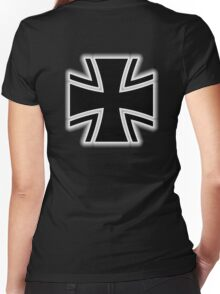 Germany, German, Iron Cross, Federal Defence, Bundeswehr Kreuz, Black Women's Fitted V-Neck T-Shirt