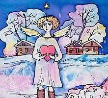 Christmas Angel Spreading Love by DinaArt