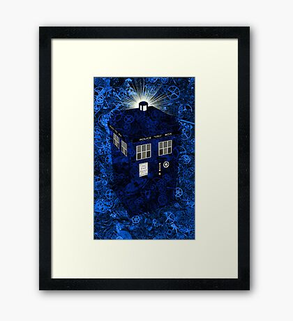 TARDIS Illustrated- Clockwork Framed Print