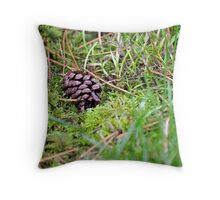 Pine Cone In The Grass Throw Pillow