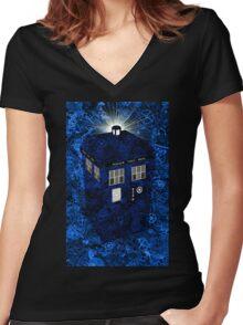 TARDIS Illustrated- Clockwork Women's Fitted V-Neck T-Shirt