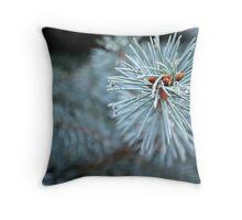 Blue Spruce In The Rain Throw Pillow