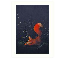 Firefly Fox - Red Art Print