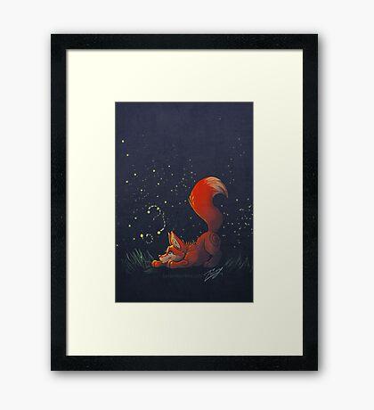 Firefly Fox - Red Framed Print