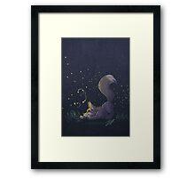 Firefly Fox - Grey Framed Print