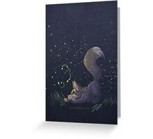Firefly Fox - Grey Greeting Card