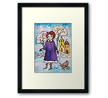 Winter Walk in Old Town Framed Print