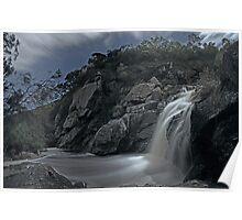 Deep Creek Waterfall in Moonlight Poster