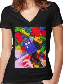 Lego My TARDIS Women's Fitted V-Neck T-Shirt
