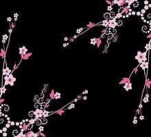 Cherry Blossom, Sakura Flowers - Pink Black  by sitnica