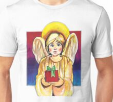 Child, Angel in gold with gift Unisex T-Shirt
