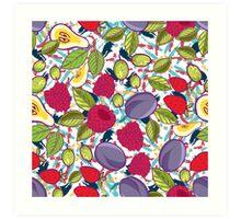 Tribal and Sweet berries seamless Art Print