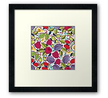 Tribal and Sweet berries seamless Framed Print
