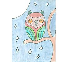 Colourful Owl Original Drawing Photographic Print