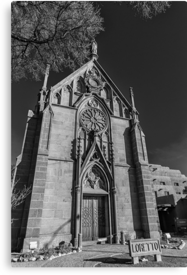 Loretto Church in Santa Fe NM B&W by GJKImages