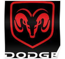 DODGE - Red , White & Black Poster