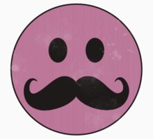 Mustache Smiley - Pink Kids Clothes