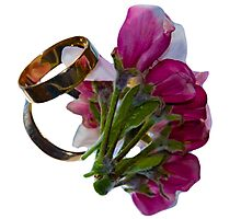 Golden Rings and Spring Flowers Photographic Print